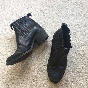 allsaints pulling cuban heel ankle boots